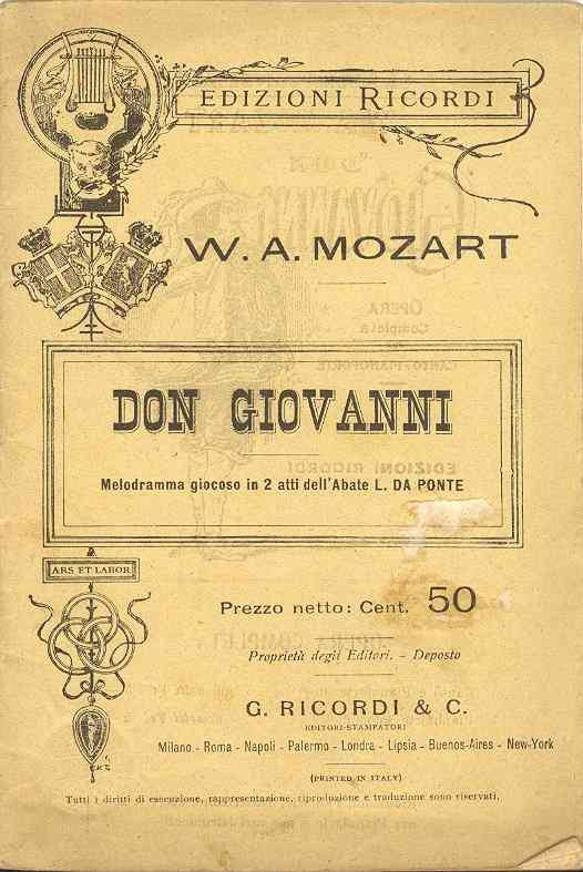 Don Giovanni, an opera by Wolfgang Amadeus Mozart