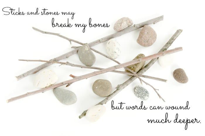 """Sticks and stones may break my bones, but words can wound much deeper."""