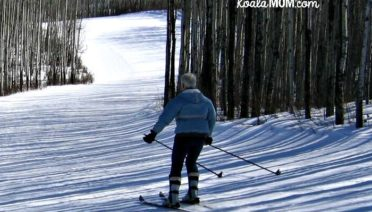 My mom skiing down a run at the Little Smoky Ski Area in northern Alberta.