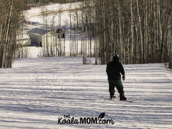 My husband snowboarding at Little Smoky Ski Area in northern Alberta.