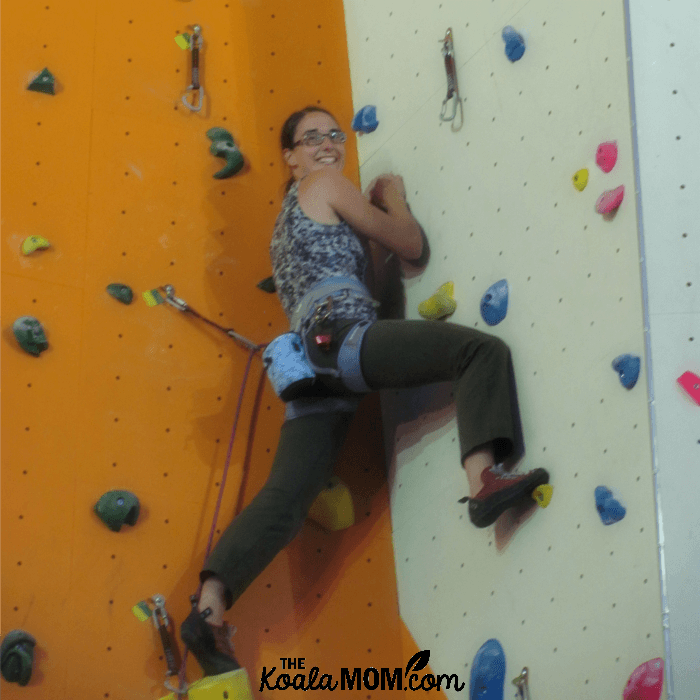 Bonnie Way rock climbing with her cousins
