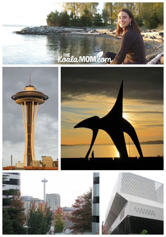 Seattle Washington - a collage of the Space Needle, Library, beach, and more
