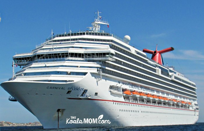 The Carnival Splendour sitting at anchor in Cabo San Lucas.