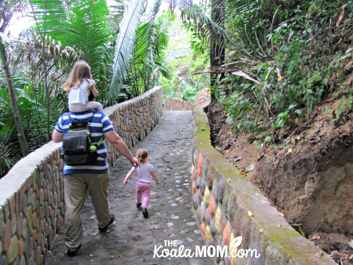 Daddy and daughters following a path in the Puerto Vallarta Zoo.