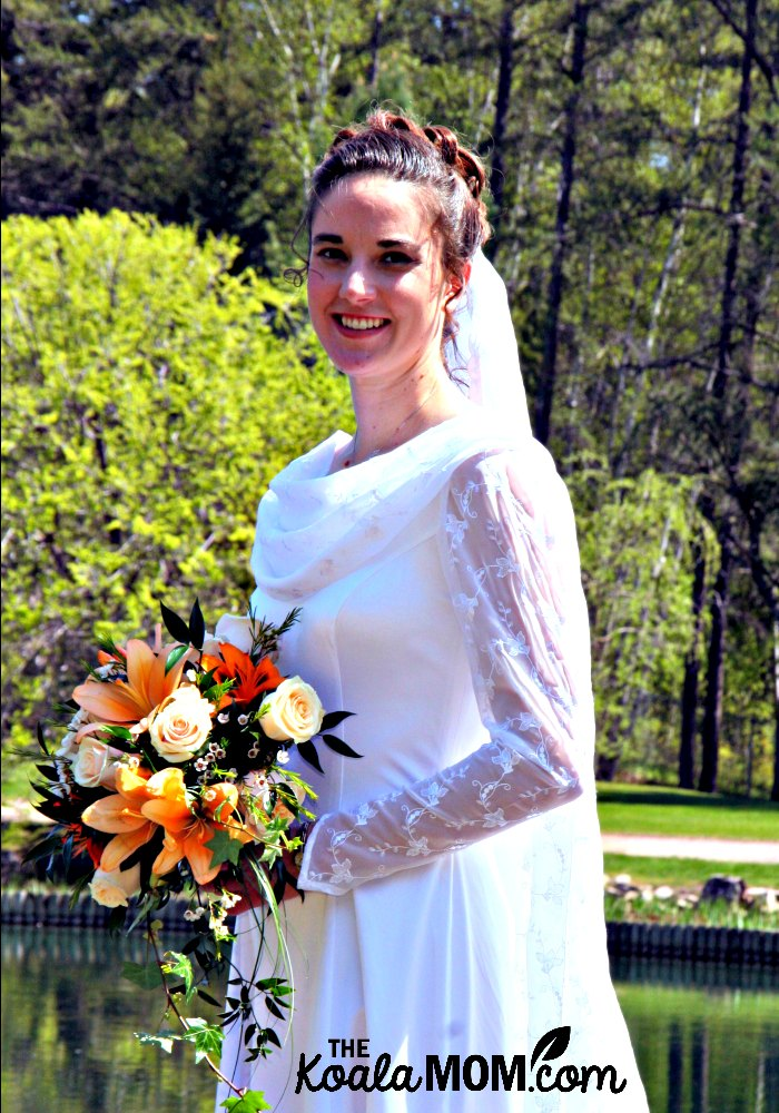 Bonnie Way wearing her wedding dress, eighteen months after her love story began.