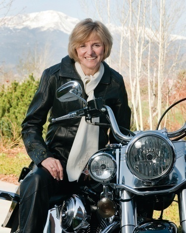 author Nancy Rue on a motorcycle