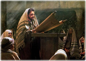 Jesus teaching in the synagogue.