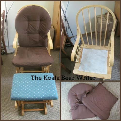 share how to re-upholster a glide rocking chair and stool, based on ...