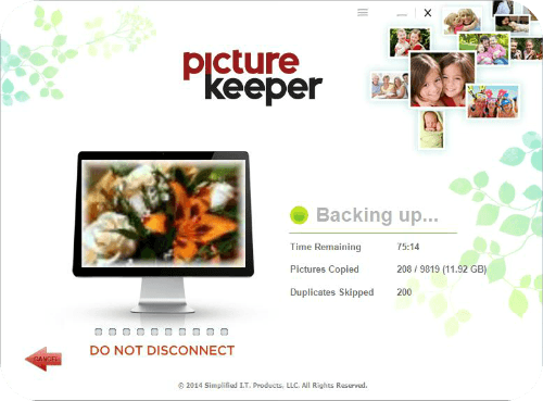 Picture Keeper Backup screen
