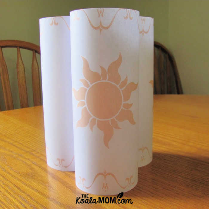 Disney Tangled paper lanterns for our Tangled birthday party.