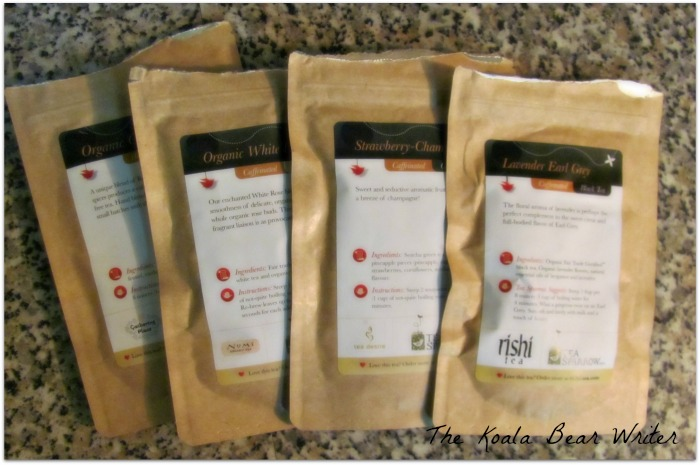 four tea packages from Tea Sparrow