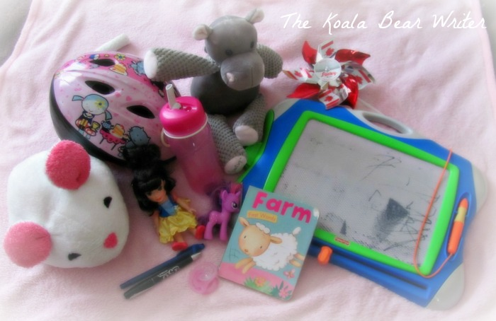 Jade's toys, books, soother, blanket