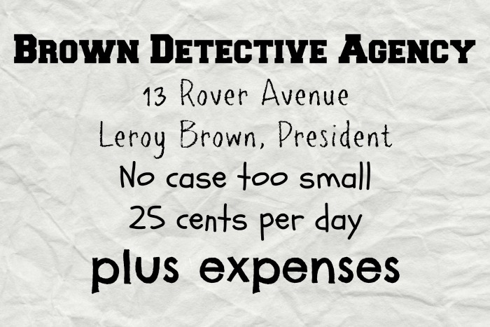 brown detective agency sign