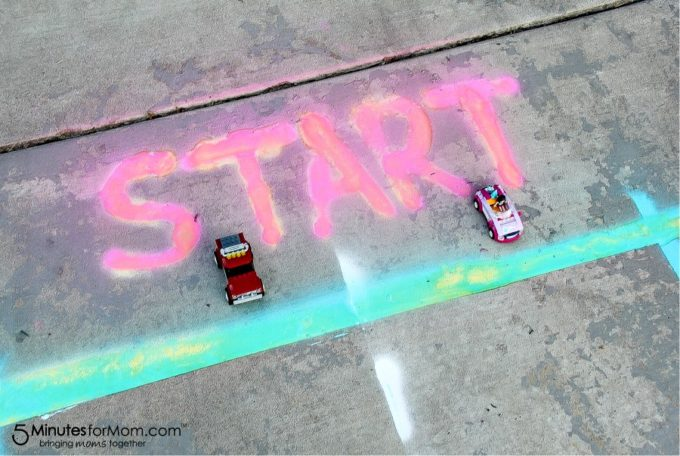 Chalk race track for toy cars.