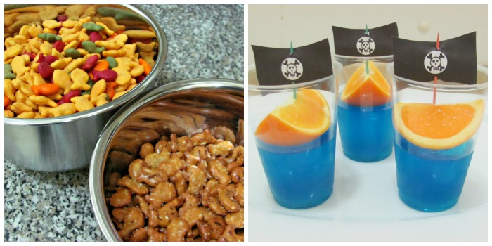 Pirate Party Snacks - goldfish crackers and jello bowls with orange boats on top