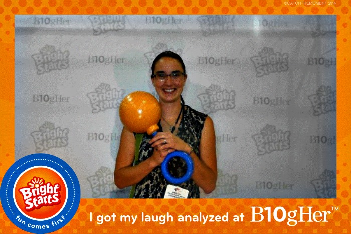 Bonnie Way posing at the Bright Starts booth at BlogHer14 conference