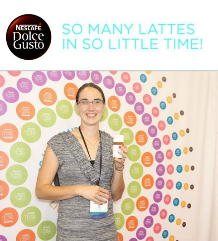 Bonnie Way with a Dolce Gusto coffee (yummm!) at BlogHer14