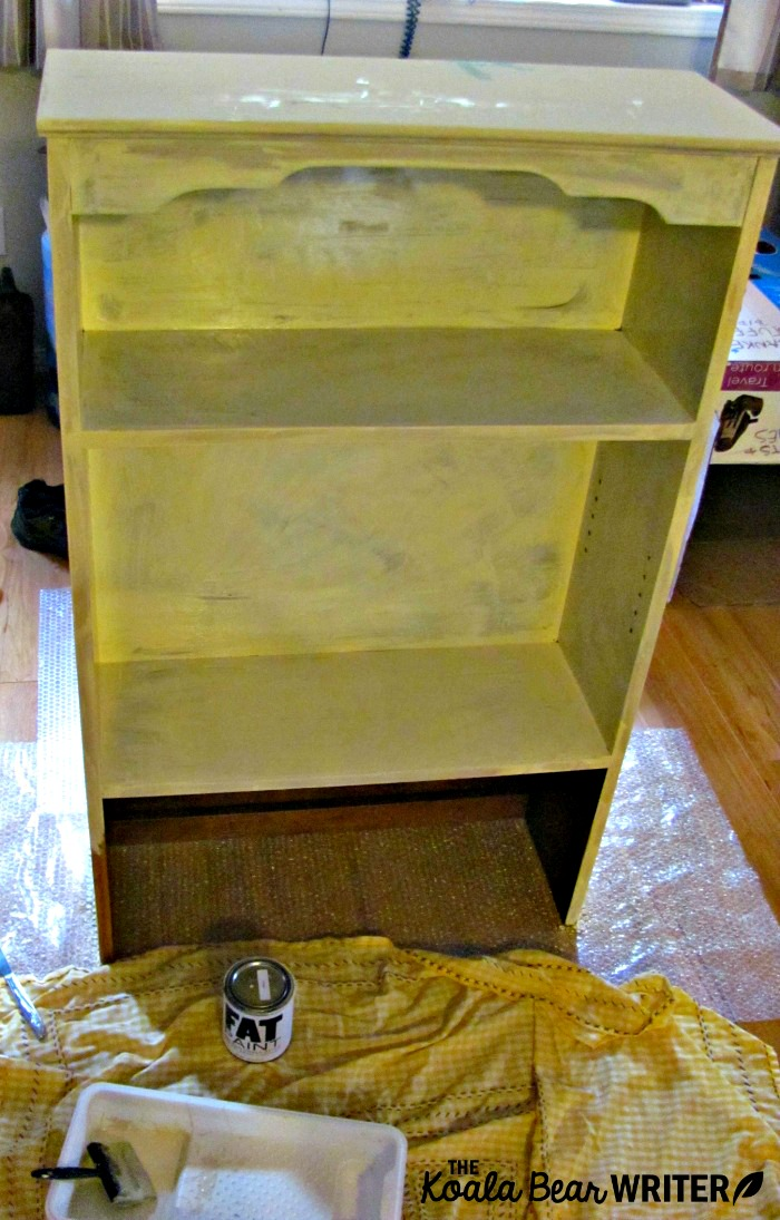 Bookshelf with one coat of chalk paint