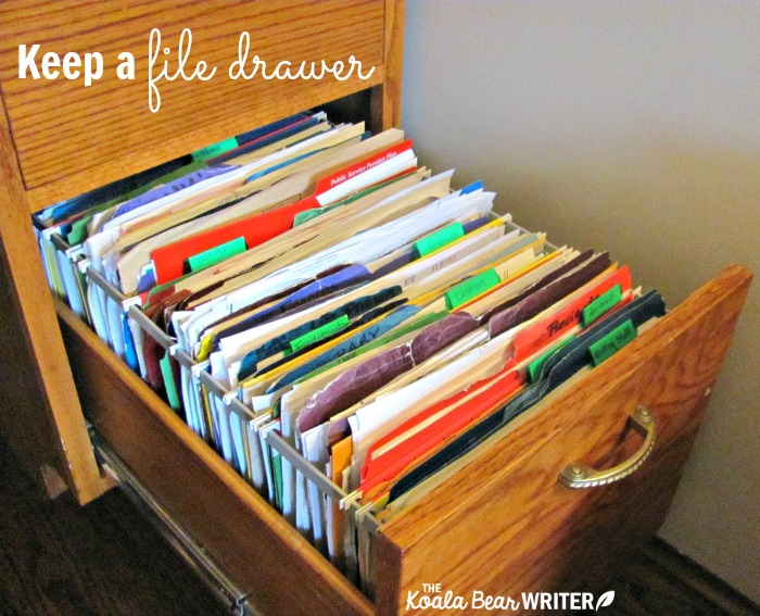 Stay organized by keeping a file drawer for papers