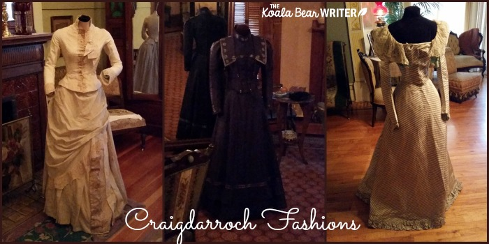 Craigdarroch Castle fashions - three dresses on mannequins
