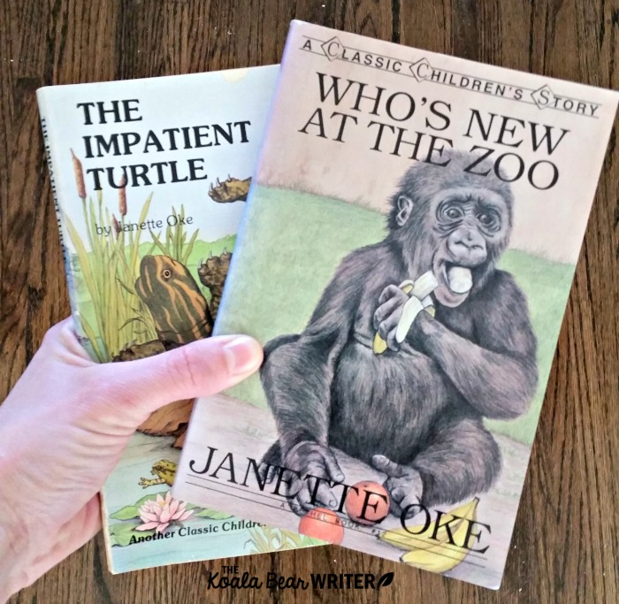 Janette Oke's kids books Who's New at the Zoo and The Impatient Turtle.