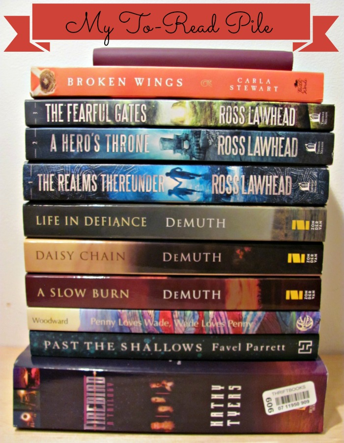 My to-read fiction pile includes three trilogies, a couple ebooks, one Canadian novel, on Australian novel, some books by favourite authors and two books by new authors.