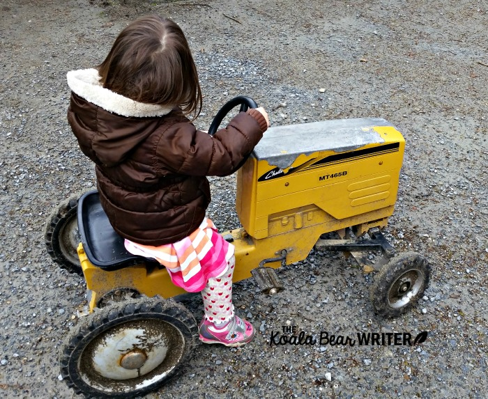 Toddler riding a mini tractor at an educational farm in North Vancouver.