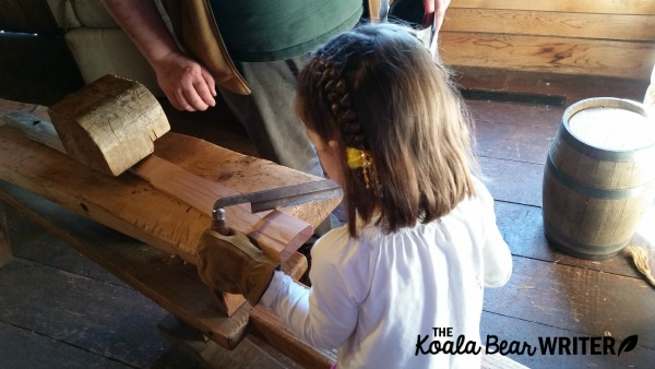 Carving wood at Fort Langley National Historic Site, BC
