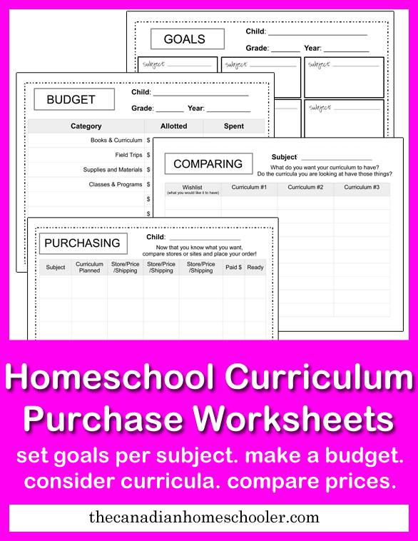 Homeschool Curriculum Purchase Worksheets (free printables!)