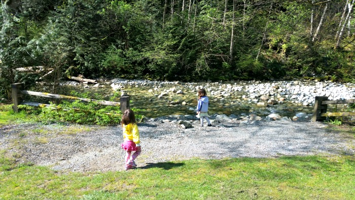 Girls exploring the creek at Shannon Falls