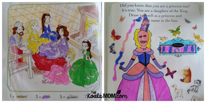 Sunshine colours her princess activity book.