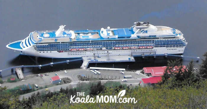Princess cruise ship from a mountain viewpoint.