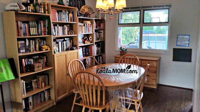 How i organize our homeschool room aka the dining room for Homeschool dining room ideas