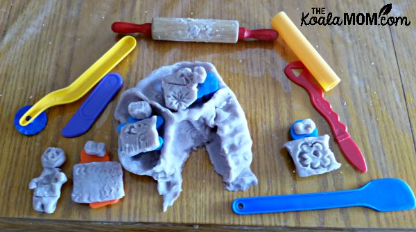 Playdough drawings and modeling tools