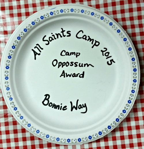 All Saints Camp 2015 Camp Oppossum Award for Bonnie Way