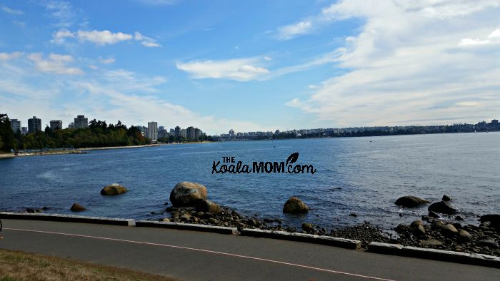 View of downtown Vancouver from Stanley Park, one of our favourite family-friend hikes around Greater Vancouver