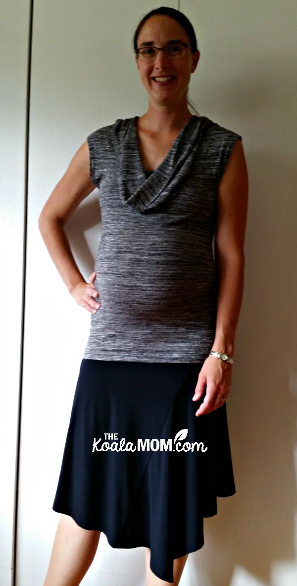 Black skirt-and-tank-top maternity outfit