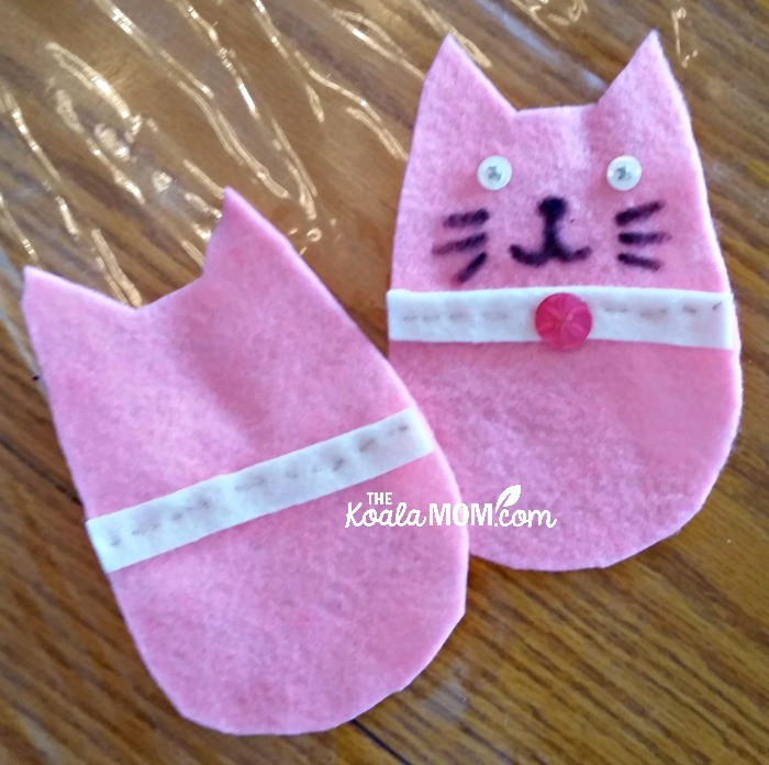 Front and back of a felt kitten