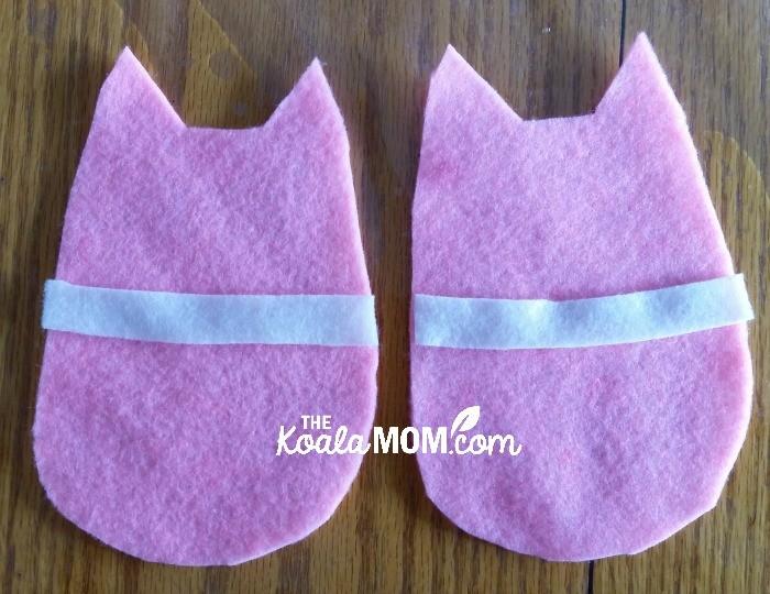 Felt kitten pieces, ready to sew