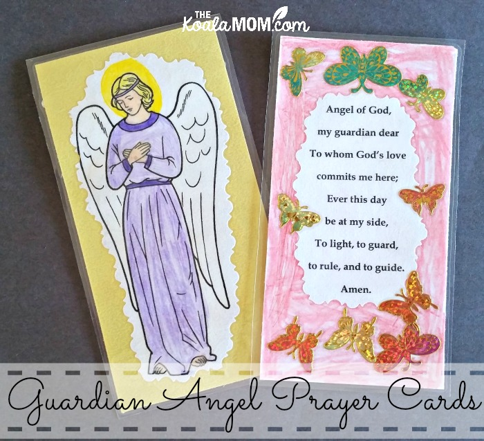 Guardian Angel Prayer Cards (front and back)