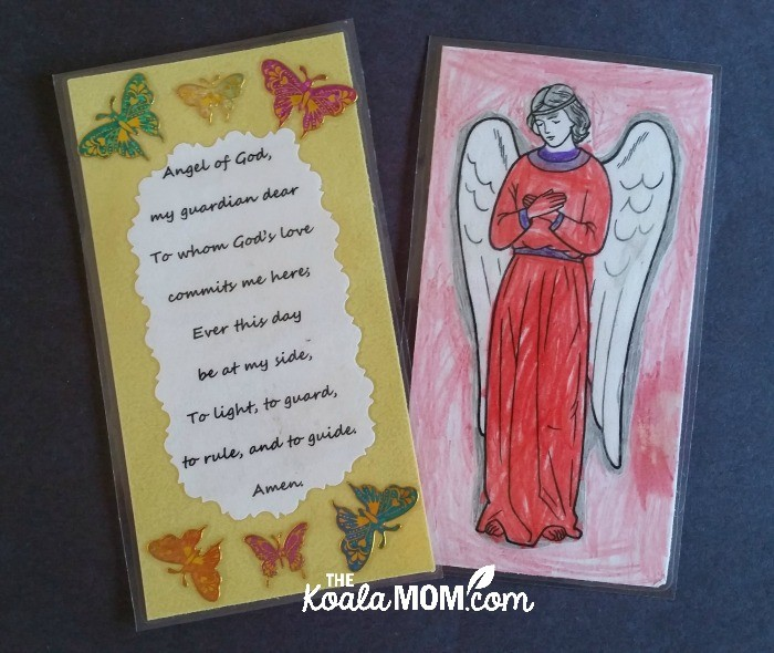 Guardian angel prayer cards made by kids