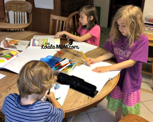 Three siblings homeschooling together