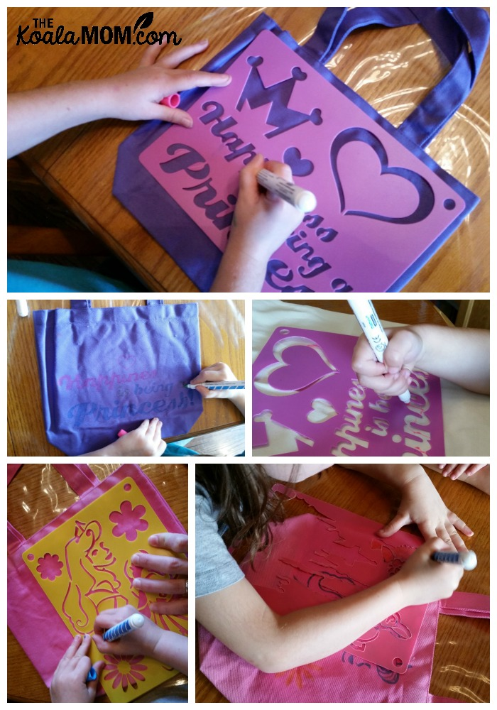 Girls decorating their canvas tote bags with princess stencils and fabric markers