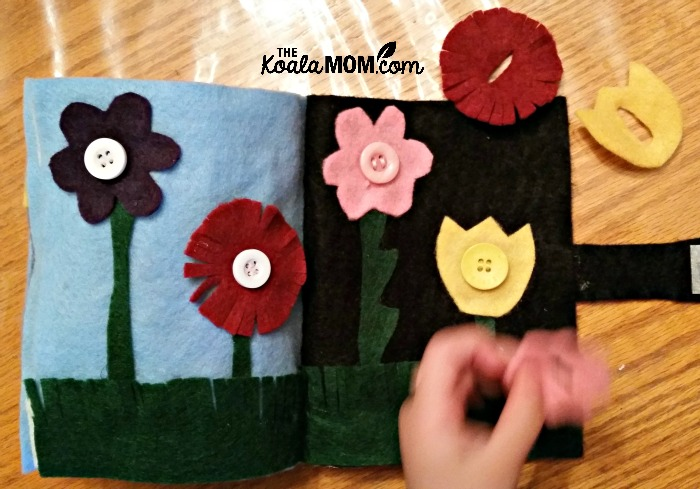 Quiet book flowers page