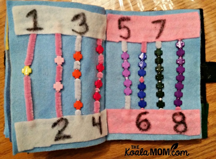 Quiet book numbers page