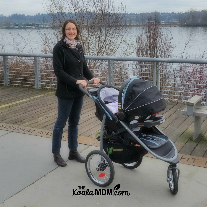 Bonnie Way with her Graco FastAction Fold Jogging Travel System at the park