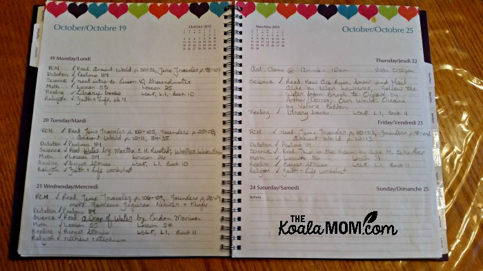 Organizing your homeschool with a planner: a sample page from my planner