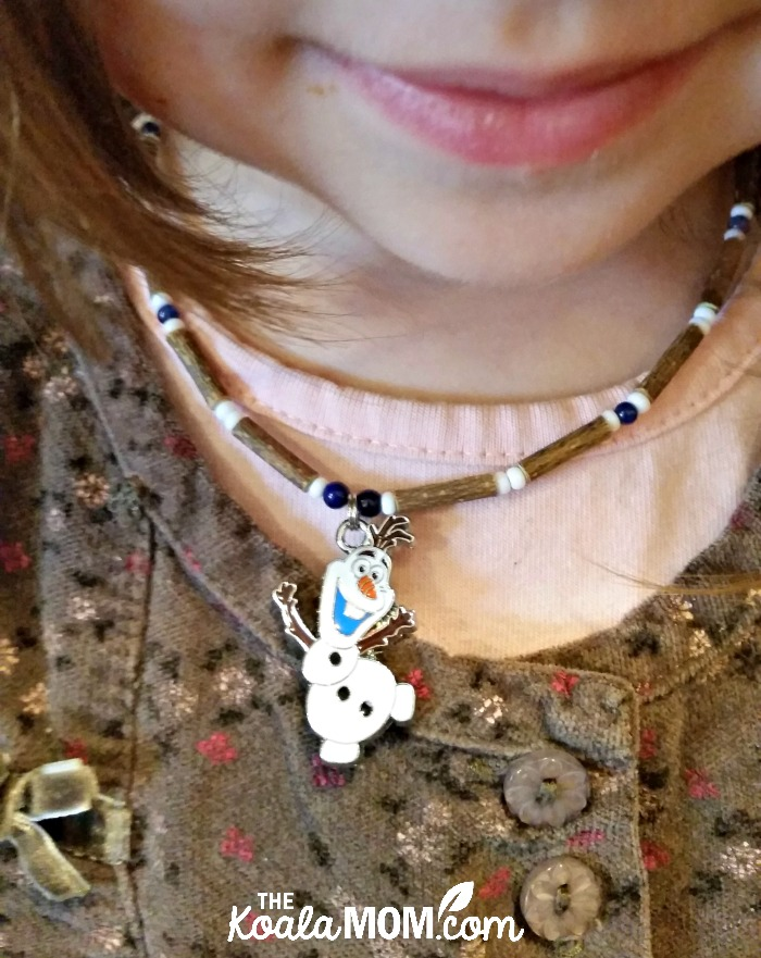 Jade wearing her Pure Hazelwood Olaf necklace