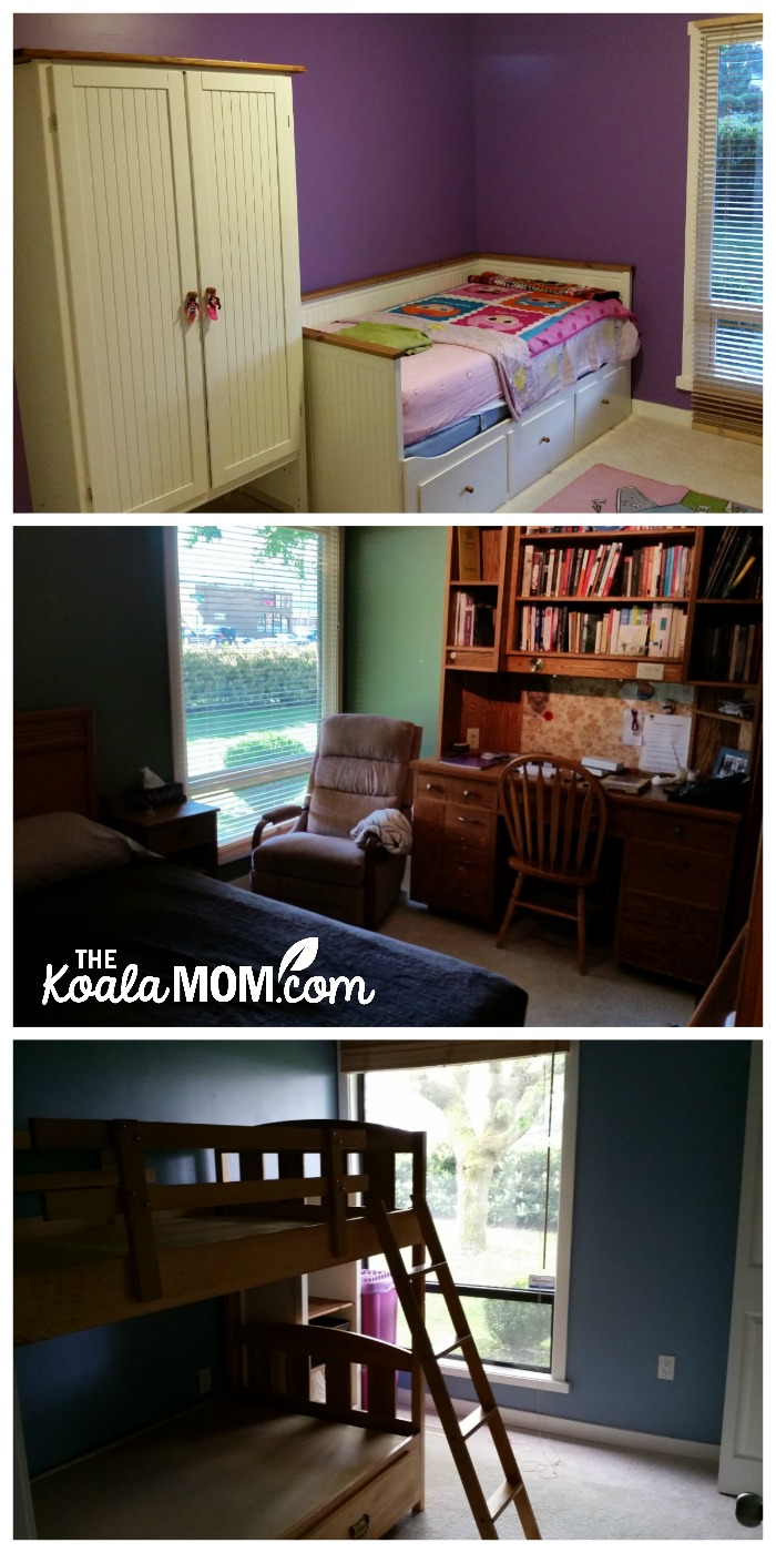 The bedrooms in our first home (three bedrooms: purple girls' room, green master bedroom, and a blue bedroom with bunkbeds)
