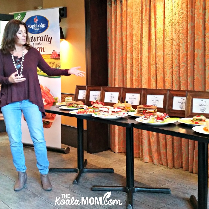 Ercia Ehm discussing the sandwiches created for Maple Lodge Farms